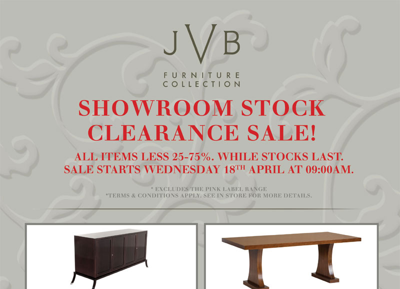 JVB Furniture Collection | Showroom Stock Clearance Sale
