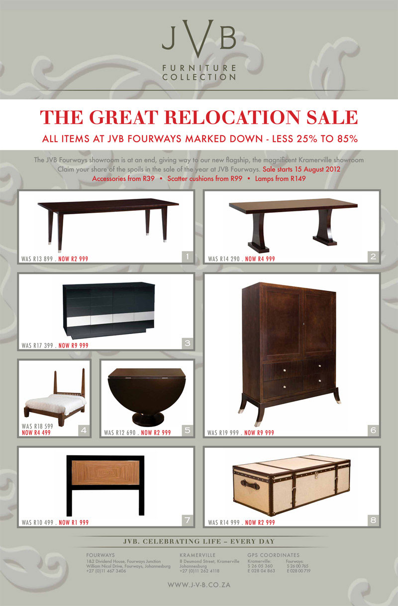 JVB Furniture Collection | The Great JVB Relocation Sale