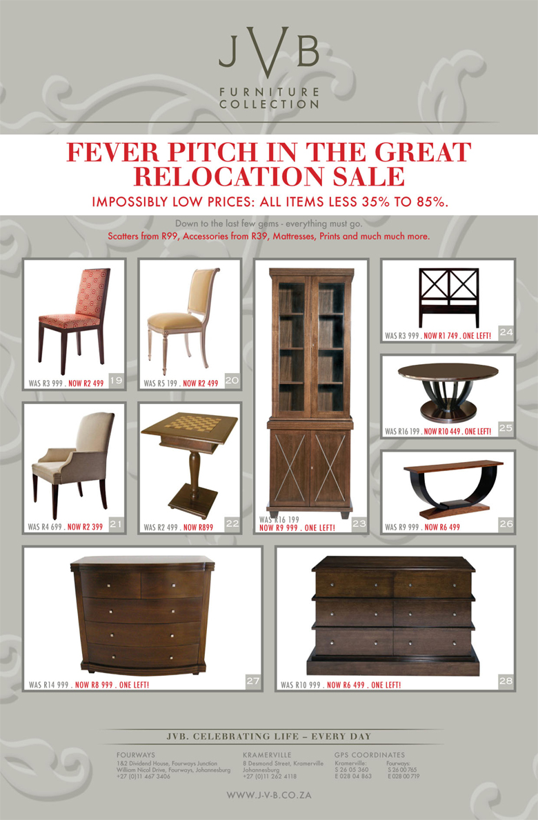 JVB Furniture Collection | Fever Pitch In The Great JVB Relocation ...